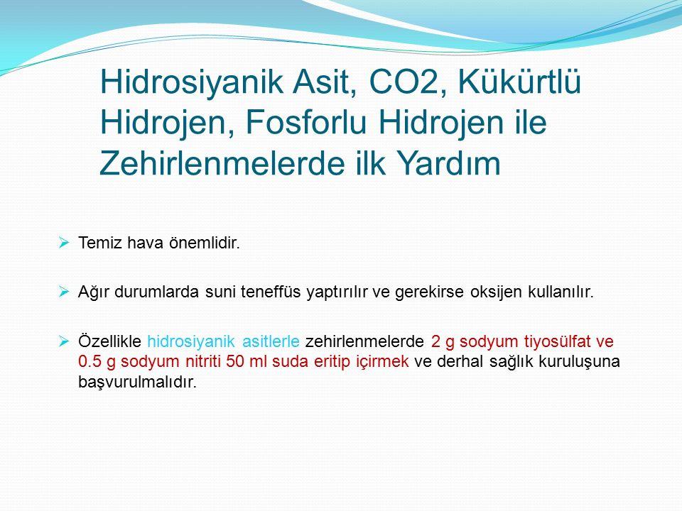 Hidrosiyanik Asit, CO2, Kükürtlü Hidrojen, Fosforlu Hidrojen ile Zehirlenmelerde ilk Yardım  Temiz hava önemlidir.  Ağır durumlarda suni teneffüs ya