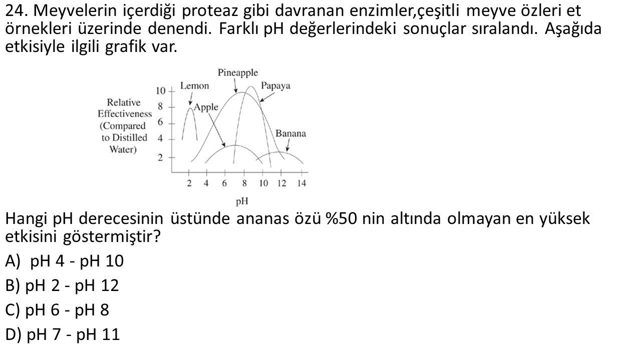24. Meyvelerin içerdiği proteaz gibi davranan enzimler,çeşitli meyve özleri et örnekleri üzerinde denendi. Farklı pH değerlerindeki sonuçlar sıralandı