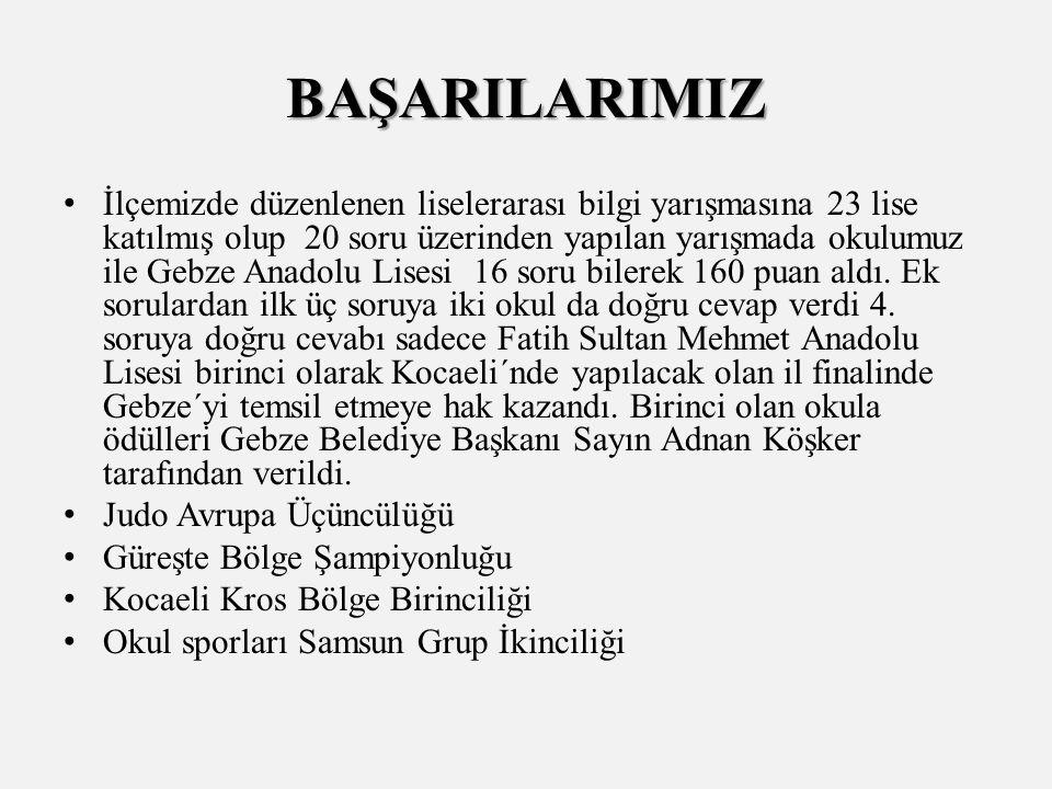 İlçemizde düzenlenen liselerarası bilgi yarışmasına 23 lise katılmış olup 20 soru üzerinden yapılan yarışmada okulumuz ile Gebze Anadolu Lisesi 16 soru bilerek 160 puan aldı.
