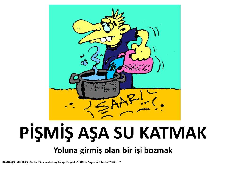 """PİŞMİŞ AŞA SU KATMAK Yoluna girmiş olan bir işi bozmak KAYNAKÇA: YURTBAŞI, Metin; """"Sınıflandırılmış Türkçe Deyimler"""", ARION Yayınevi, İstanbul-2004 s."""
