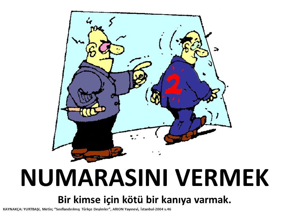 """NUMARASINI VERMEK Bir kimse için kötü bir kanıya varmak. KAYNAKÇA: YURTBAŞI, Metin; """"Sınıflandırılmış Türkçe Deyimler"""", ARION Yayınevi, İstanbul-2004"""