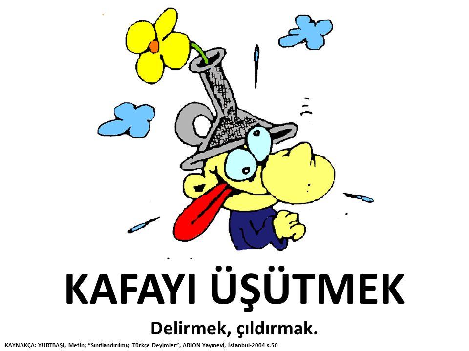 """KAFAYI ÜŞÜTMEK Delirmek, çıldırmak. KAYNAKÇA: YURTBAŞI, Metin; """"Sınıflandırılmış Türkçe Deyimler"""", ARION Yayınevi, İstanbul-2004 s.50"""