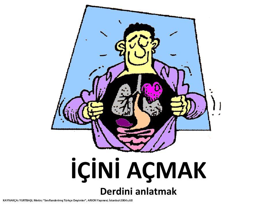 """İÇİNİ AÇMAK Derdini anlatmak KAYNAKÇA: YURTBAŞI, Metin; """"Sınıflandırılmış Türkçe Deyimler"""", ARION Yayınevi, İstanbul-2004 s.68"""
