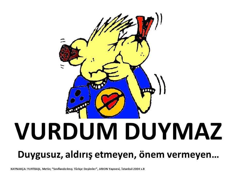 BİN DEREDEN SU GETİRMEK Bahane uydurmak KAYNAKÇA: YURTBAŞI, Metin; Sınıflandırılmış Türkçe Deyimler , ARION Yayınevi, İstanbul-2004 s.8