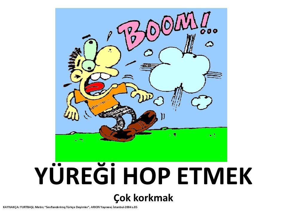 """YÜREĞİ HOP ETMEK Çok korkmak KAYNAKÇA: YURTBAŞI, Metin; """"Sınıflandırılmış Türkçe Deyimler"""", ARION Yayınevi, İstanbul-2004 s.85"""