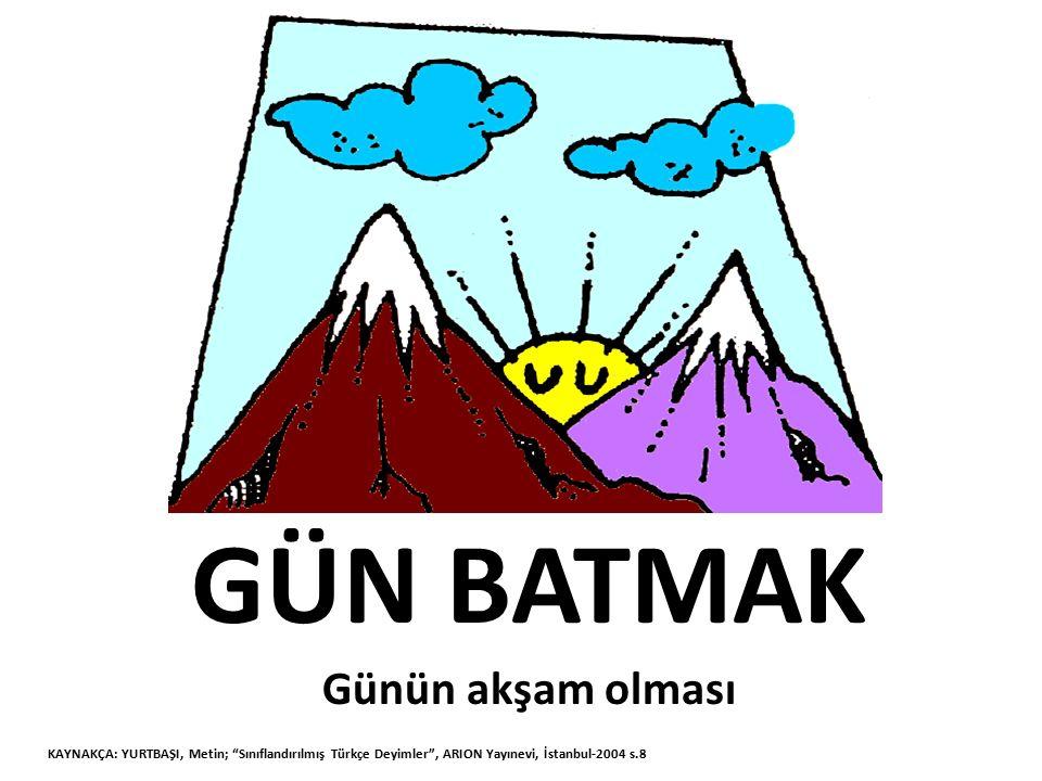 ALTINDAN KALKMAK Zor işleri başarmak KAYNAKÇA: YURTBAŞI, Metin; Sınıflandırılmış Türkçe Deyimler , ARION Yayınevi, İstanbul-2004 s.8