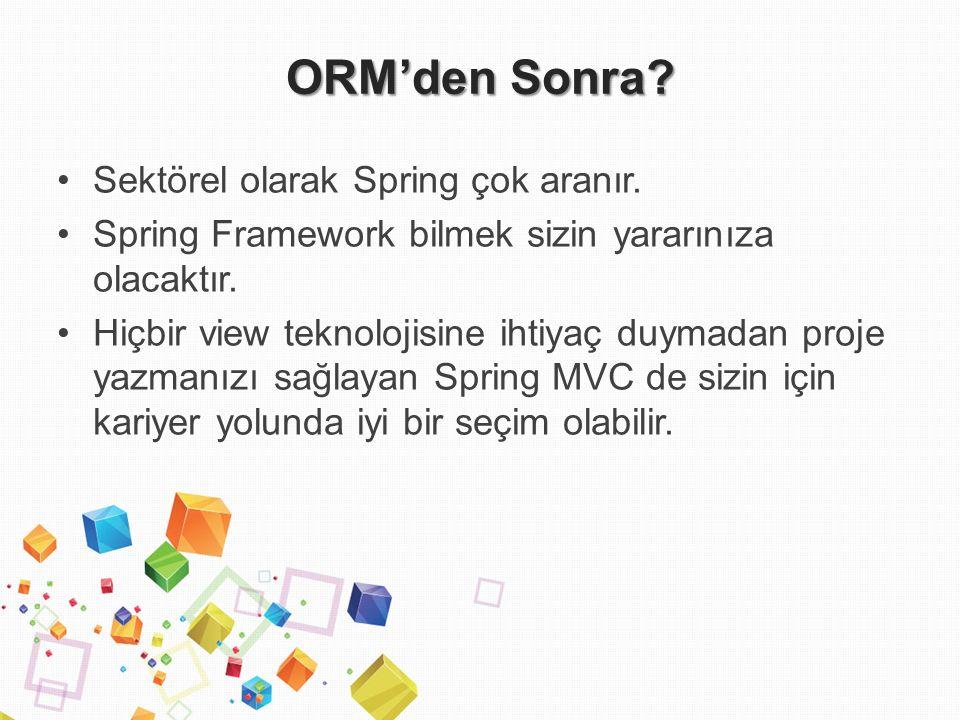ORM'den Sonra. Sektörel olarak Spring çok aranır.