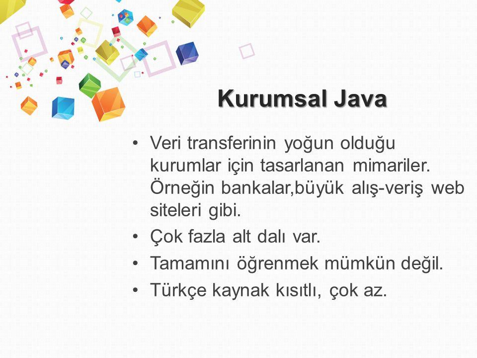 Kurumsal Java Veri transferinin yoğun olduğu kurumlar için tasarlanan mimariler.