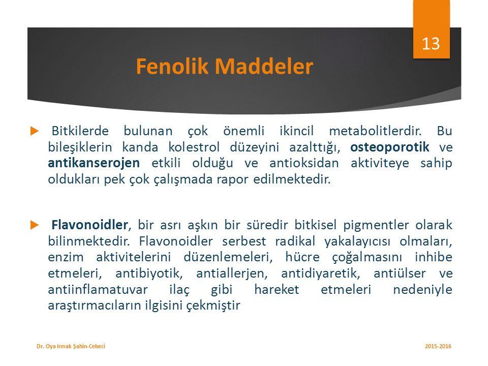 Fenolik Maddeler  Bitkilerde bulunan çok önemli ikincil metabolitlerdir.