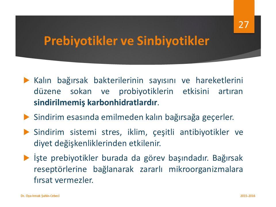 Prebiyotikler ve Sinbiyotikler  Kalın bağırsak bakterilerinin sayısını ve hareketlerini düzene sokan ve probiyotiklerin etkisini artıran sindirilmemiş karbonhidratlardır.