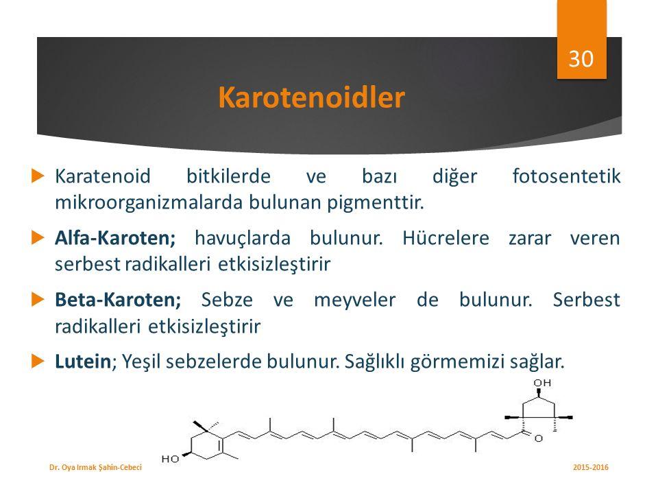 Karotenoidler  Karatenoid bitkilerde ve bazı diğer fotosentetik mikroorganizmalarda bulunan pigmenttir.