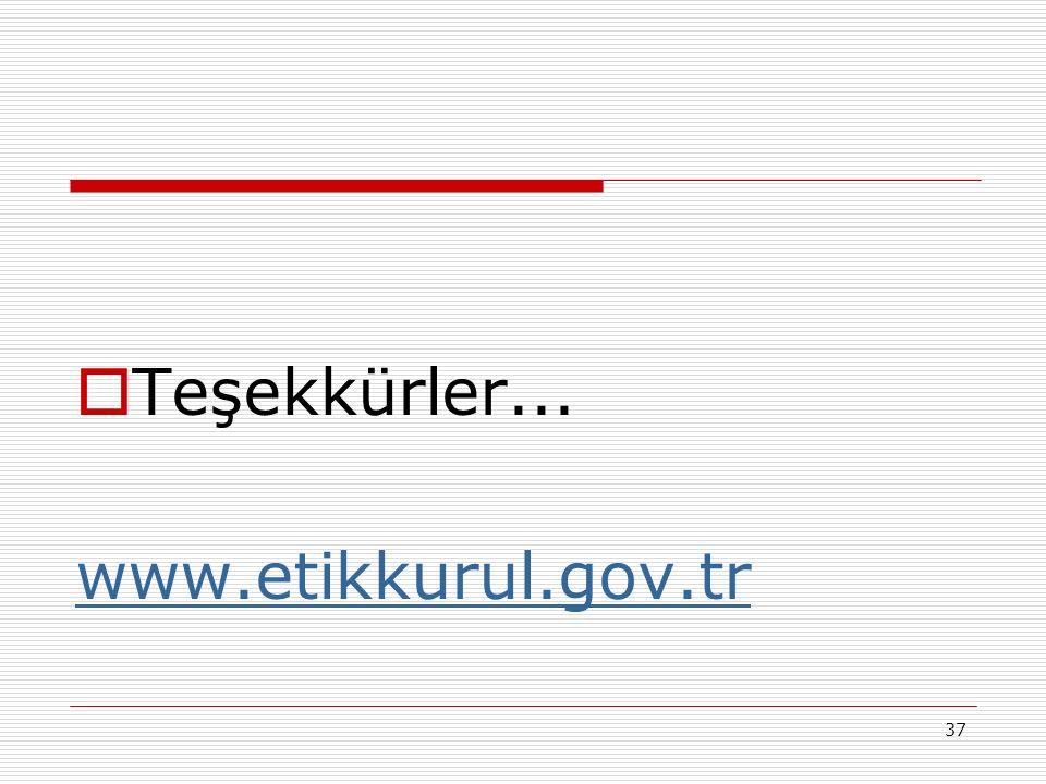 37  Teşekkürler... www.etikkurul.gov.tr