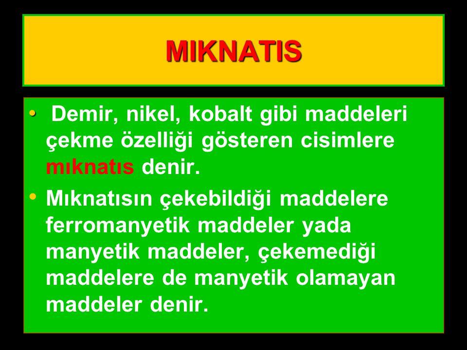MIKNATIS Demir, nikel, kobalt gibi maddeleri çekme özelliği gösteren cisimlere mıknatıs denir.