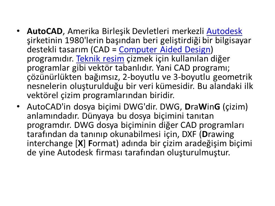 AutoCAD, Amerika Birleşik Devletleri merkezli Autodesk şirketinin 1980 lerin başından beri geliştirdiği bir bilgisayar destekli tasarım (CAD = Computer Aided Design) programıdır.