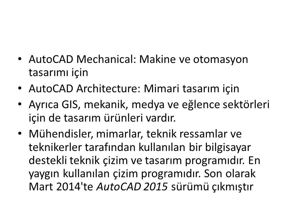 AutoCAD Mechanical: Makine ve otomasyon tasarımı için AutoCAD Architecture: Mimari tasarım için Ayrıca GIS, mekanik, medya ve eğlence sektörleri için de tasarım ürünleri vardır.