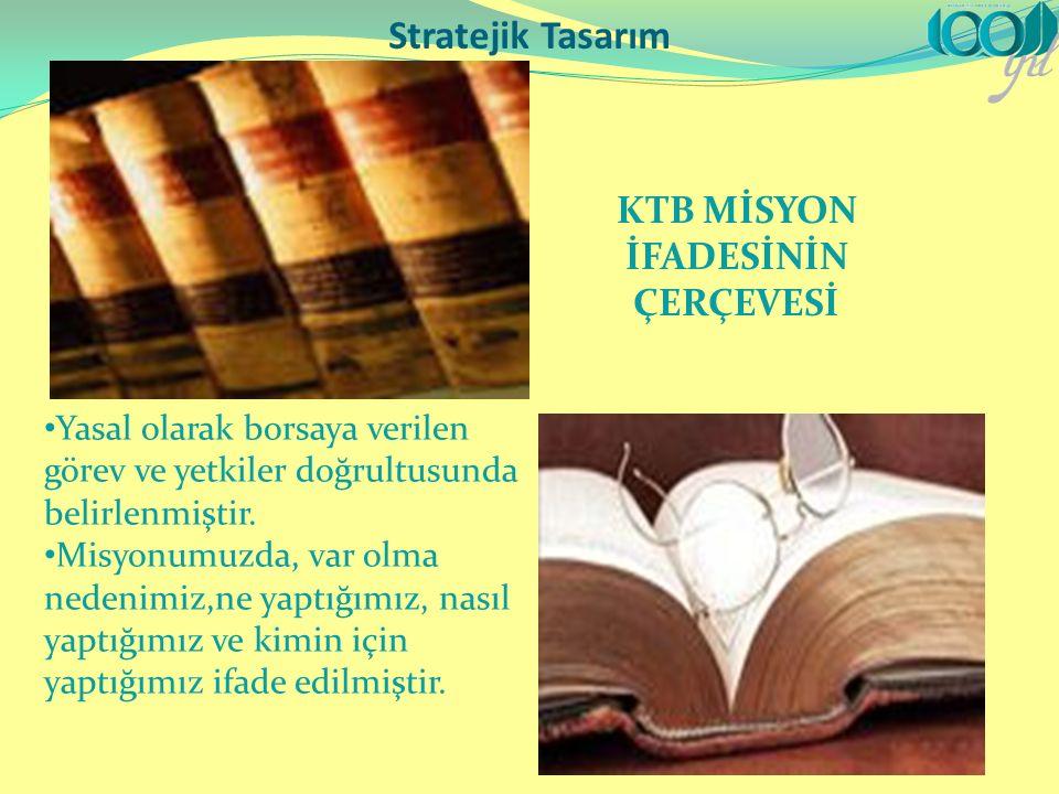 Stratejik Tasarım KTB MİSYON İFADESİNİN ÇERÇEVESİ Yasal olarak borsaya verilen görev ve yetkiler doğrultusunda belirlenmiştir.