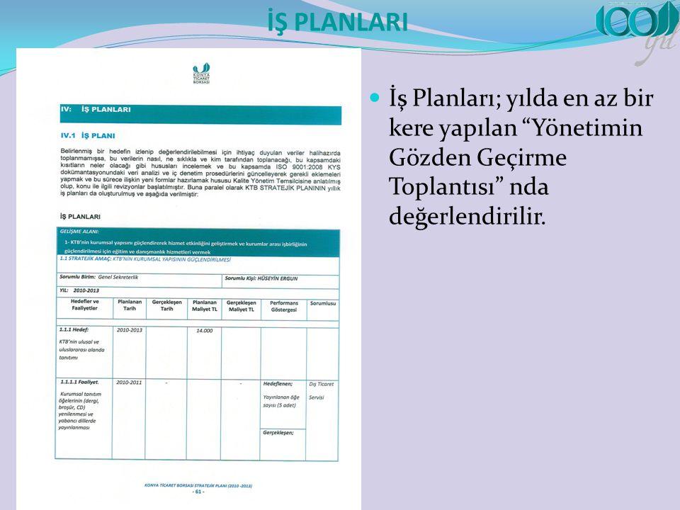 İŞ PLANLARI İş Planları; yılda en az bir kere yapılan Yönetimin Gözden Geçirme Toplantısı nda değerlendirilir.