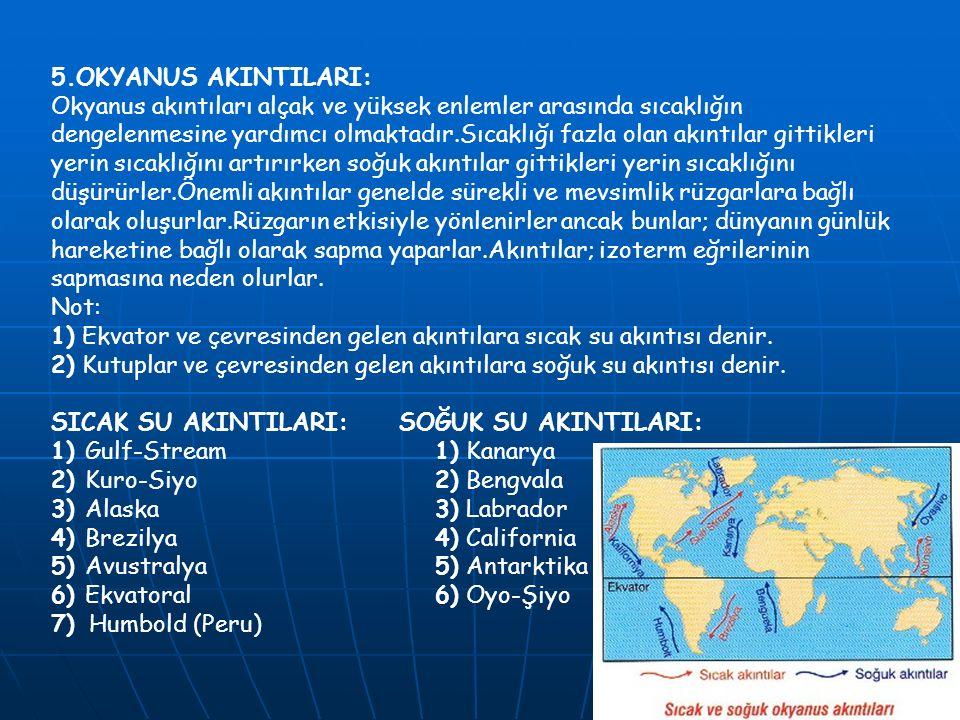5.OKYANUS AKINTILARI: Okyanus akıntıları alçak ve yüksek enlemler arasında sıcaklığın dengelenmesine yardımcı olmaktadır.Sıcaklığı fazla olan akıntıla