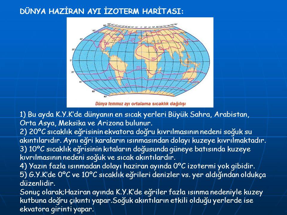 DÜNYA HAZİRAN AYI İZOTERM HARİTASI: 1) Bu ayda K.Y.K'de dünyanın en sıcak yerleri Büyük Sahra, Arabistan, Orta Asya, Meksika ve Arizona bulunur. 2) 20