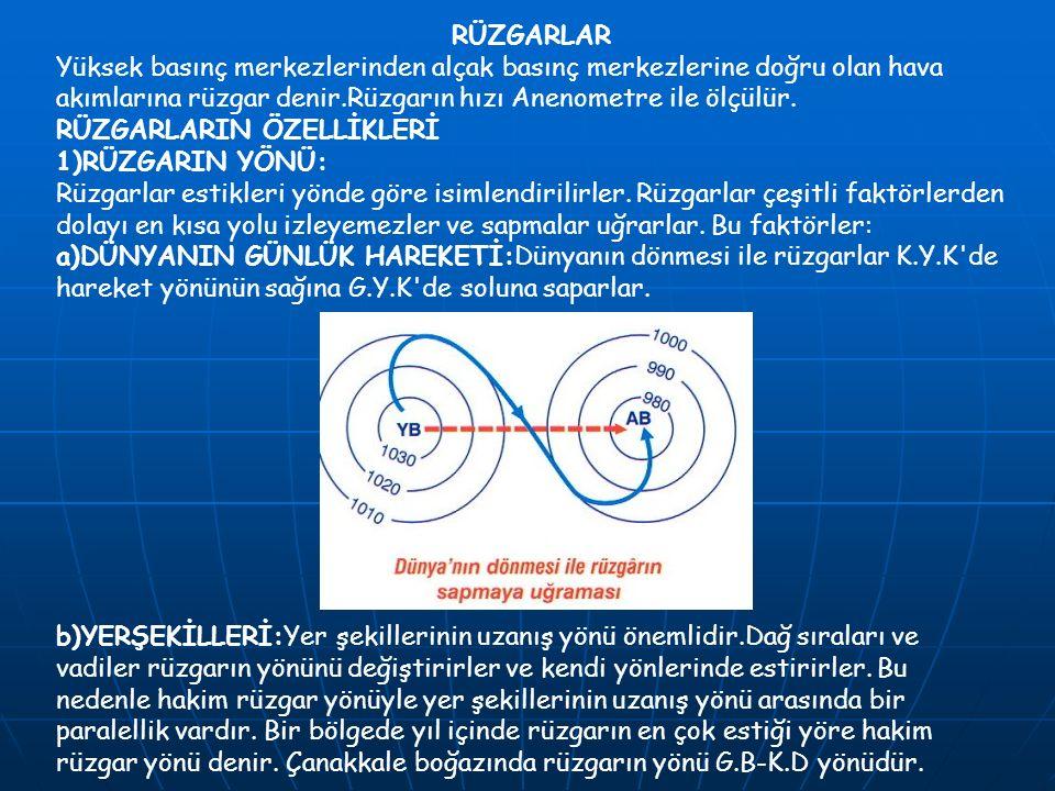RÜZGARLAR Yüksek basınç merkezlerinden alçak basınç merkezlerine doğru olan hava akımlarına rüzgar denir.Rüzgarın hızı Anenometre ile ölçülür. RÜZGARL