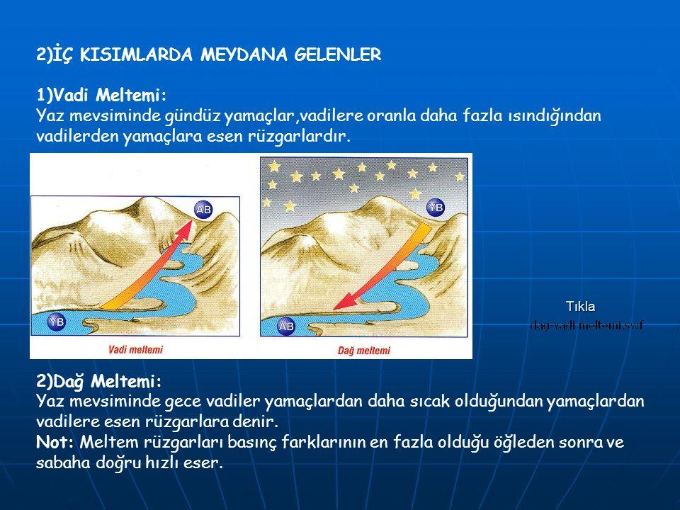 2)İÇ KISIMLARDA MEYDANA GELENLER 1)Vadi Meltemi: Yaz mevsiminde gündüz yamaçlar,vadilere oranla daha fazla ısındığından vadilerden yamaçlara esen rüzgarlardır.