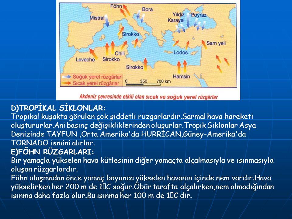 D)TROPİKAL SİKLONLAR: Tropikal kuşakta görülen çok şiddetli rüzgarlardır.Sarmal hava hareketi oluştururlar.Ani basınç değişikliklerinden oluşurlar.Tropik Siklonlar Asya Denizinde TAYFUN,Orta Amerika da HURRİCAN,Güney-Amerika da TORNADO ismini alırlar.
