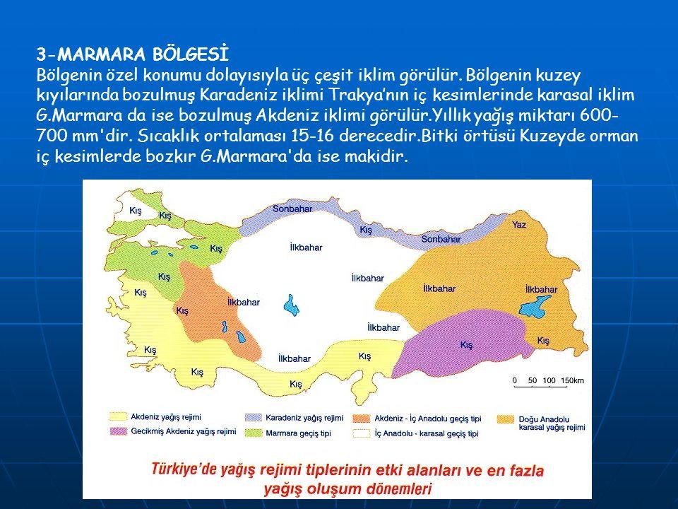 3-MARMARA BÖLGESİ Bölgenin özel konumu dolayısıyla üç çeşit iklim görülür. Bölgenin kuzey kıyılarında bozulmuş Karadeniz iklimi Trakya'nın iç kesimler