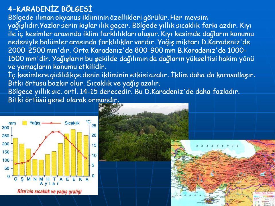 4-KARADENİZ BÖLGESİ Bölgede ılıman okyanus ikliminin özellikleri görülür.