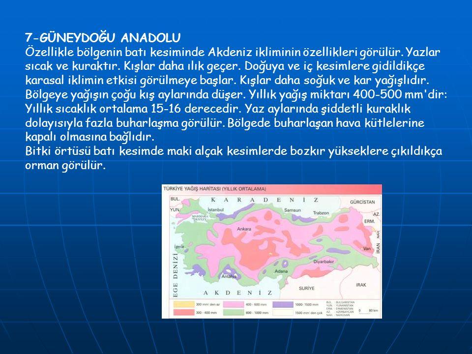 7-GÜNEYDOĞU ANADOLU Özellikle bölgenin batı kesiminde Akdeniz ikliminin özellikleri görülür. Yazlar sıcak ve kuraktır. Kışlar daha ılık geçer. Doğuya