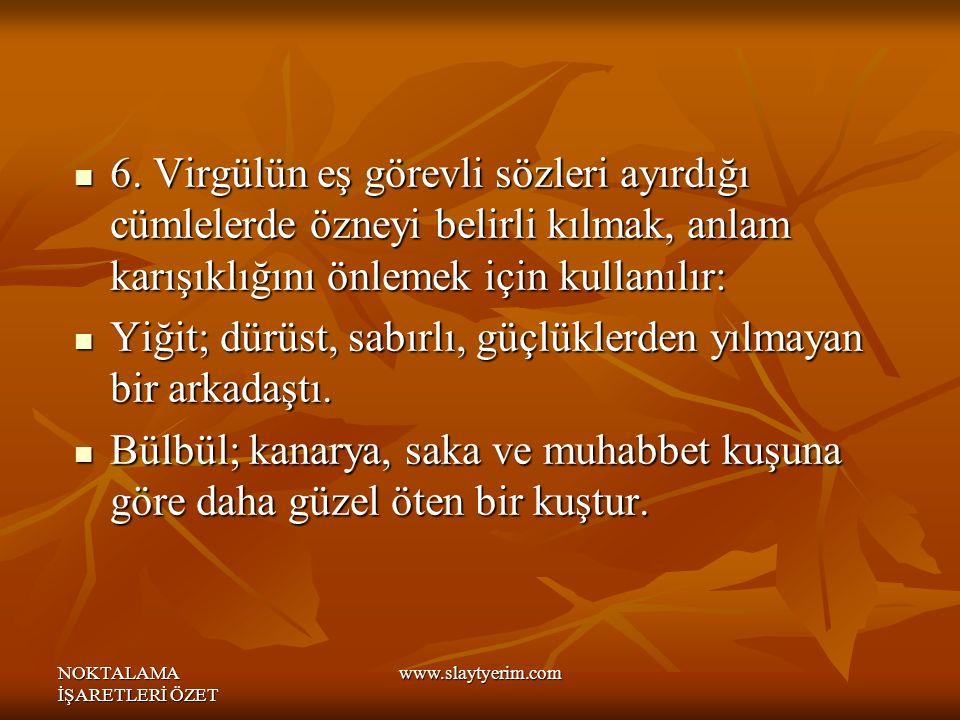 NOKTALAMA İŞARETLERİ ÖZET www.slaytyerim.com 6.