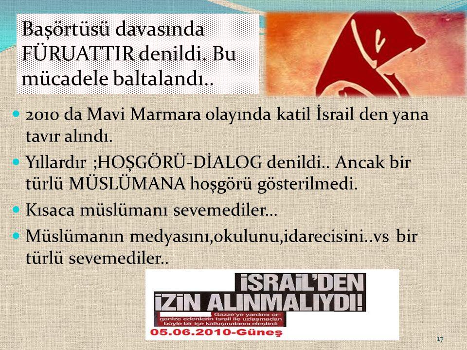 2010 da Mavi Marmara olayında katil İsrail den yana tavır alındı.
