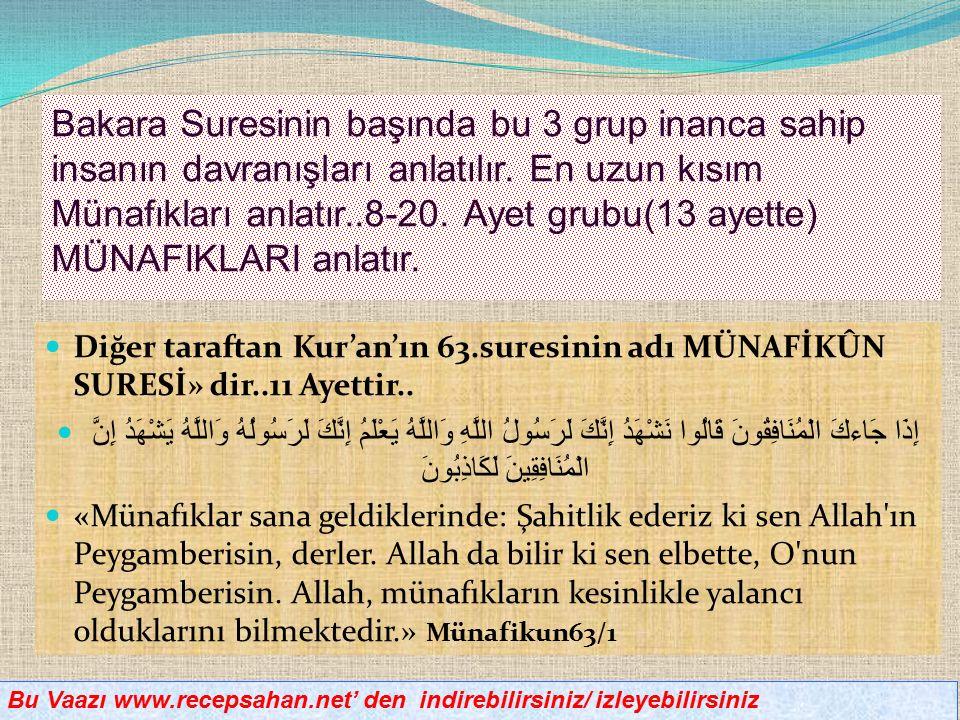 Diğer taraftan Kur'an'ın 63.suresinin adı MÜNAFİKÛN SURESİ» dir..11 Ayettir..