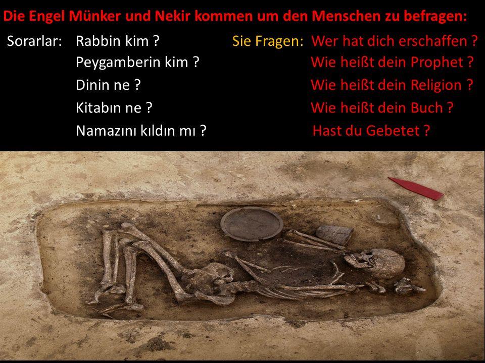 Die Engel Münker und Nekir kommen um den Menschen zu befragen: Sorarlar: Rabbin kim ? Peygamberin kim ? Dinin ne ? Kitabın ne ? Namazını kıldın mı ? S