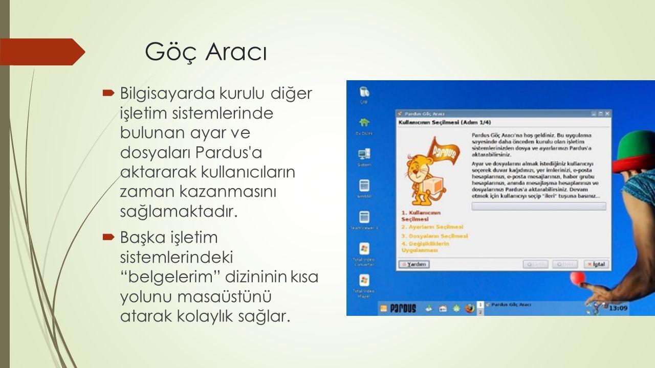 Göç Aracı  Bilgisayarda kurulu diğer işletim sistemlerinde bulunan ayar ve dosyaları Pardus a aktararak kullanıcıların zaman kazanmasını sağlamaktadır.