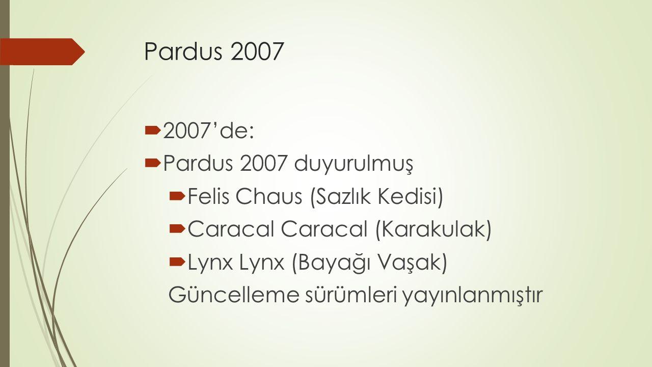 Pardus 2007  2007'de:  Pardus 2007 duyurulmuş  Felis Chaus (Sazlık Kedisi)  Caracal Caracal (Karakulak)  Lynx Lynx (Bayağı Vaşak) Güncelleme sürümleri yayınlanmıştır
