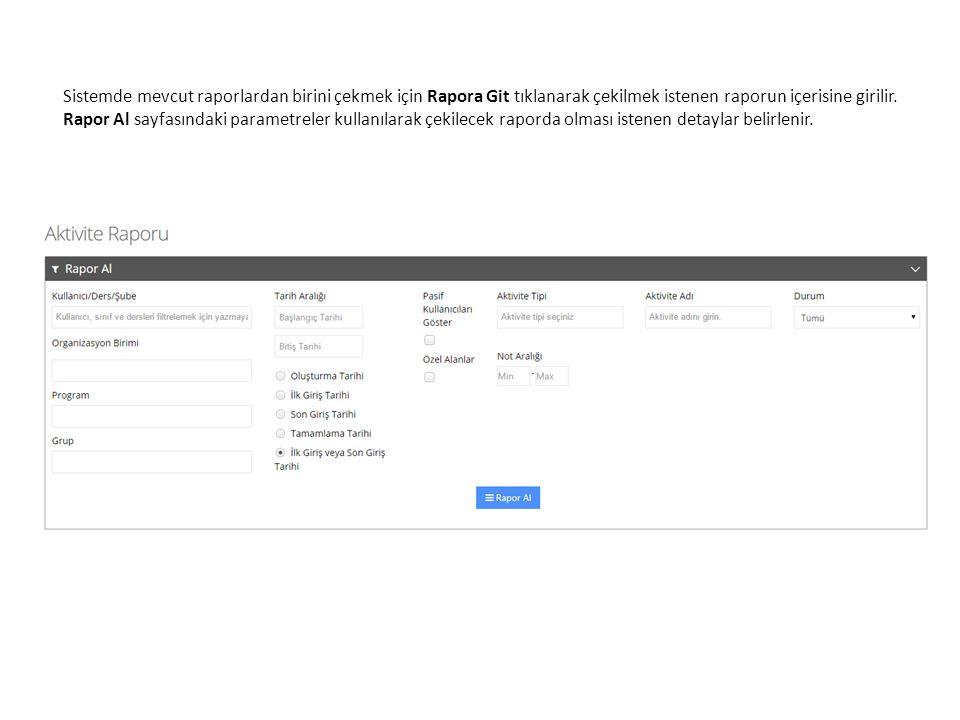 Sistemde mevcut raporlardan birini çekmek için Rapora Git tıklanarak çekilmek istenen raporun içerisine girilir.