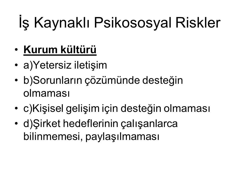 İş Kaynaklı Psikososyal Riskler Kurum kültürü a)Yetersiz iletişim b)Sorunların çözümünde desteğin olmaması c)Kişisel gelişim için desteğin olmaması d)