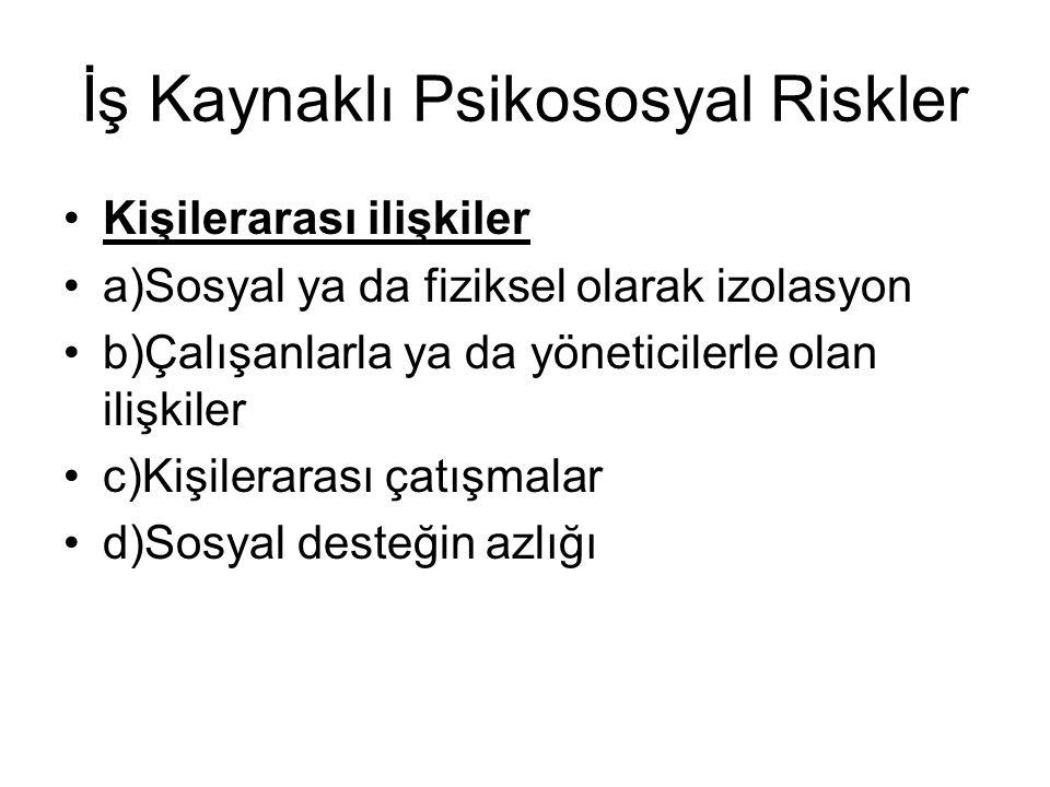 İş Kaynaklı Psikososyal Riskler Kişilerarası ilişkiler a)Sosyal ya da fiziksel olarak izolasyon b)Çalışanlarla ya da yöneticilerle olan ilişkiler c)Ki