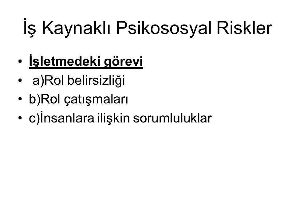 İş Kaynaklı Psikososyal Riskler İşletmedeki görevi a)Rol belirsizliği b)Rol çatışmaları c)İnsanlara ilişkin sorumluluklar