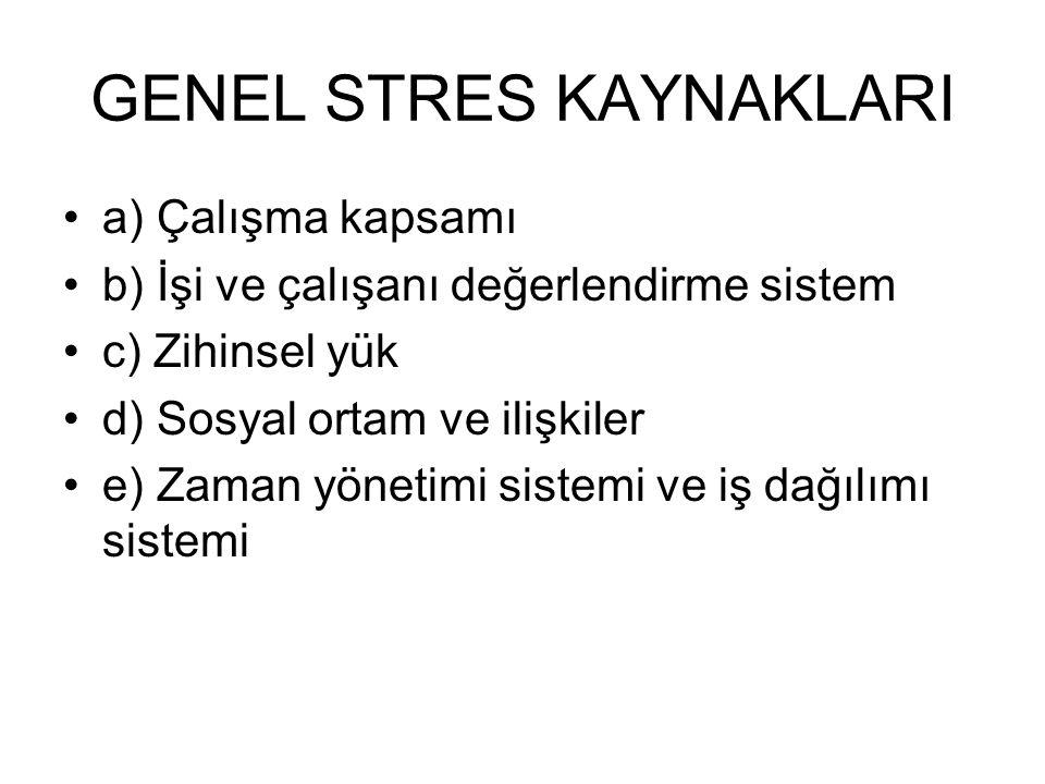 GENEL STRES KAYNAKLARI a) Çalışma kapsamı b) İşi ve çalışanı değerlendirme sistem c) Zihinsel yük d) Sosyal ortam ve ilişkiler e) Zaman yönetimi siste