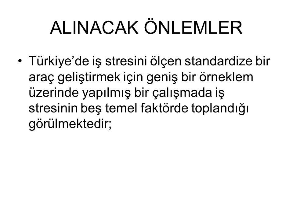 ALINACAK ÖNLEMLER Türkiye'de iş stresini ölçen standardize bir araç geliştirmek için geniş bir örneklem üzerinde yapılmış bir çalışmada iş stresinin b