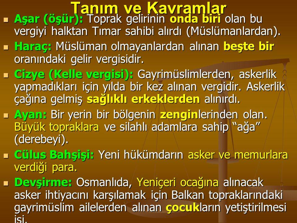 Tanım ve Kavramlar Aşar (öşür): Toprak gelirinin onda biri olan bu vergiyi halktan Tımar sahibi alırdı (Müslümanlardan).