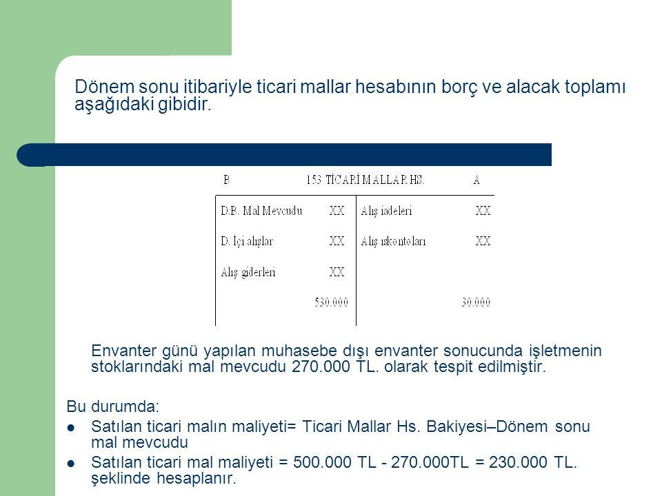 Envanter günü yapılan muhasebe dışı envanter sonucunda işletmenin stoklarındaki mal mevcudu 270.000 TL. olarak tespit edilmiştir. Bu durumda: Satılan