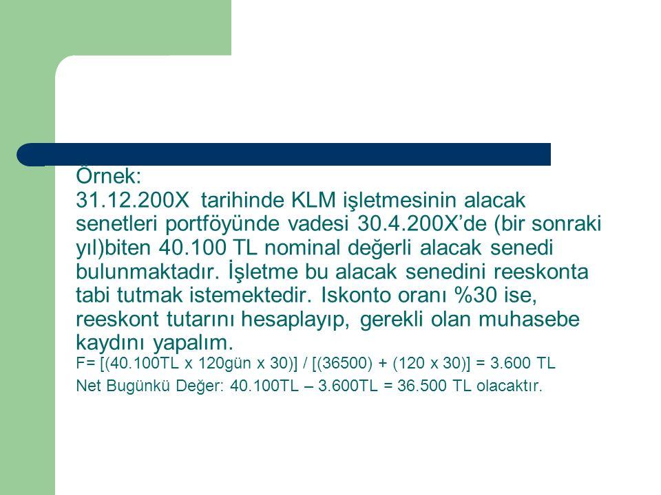 Örnek: 31.12.200X tarihinde KLM işletmesinin alacak senetleri portföyünde vadesi 30.4.200X'de (bir sonraki yıl)biten 40.100 TL nominal değerli alacak