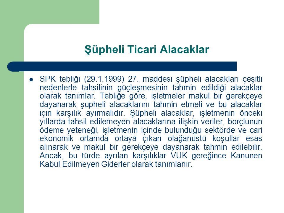 Şüpheli Ticari Alacaklar SPK tebliği (29.1.1999) 27. maddesi şüpheli alacakları çeşitli nedenlerle tahsilinin güçleşmesinin tahmin edildiği alacaklar