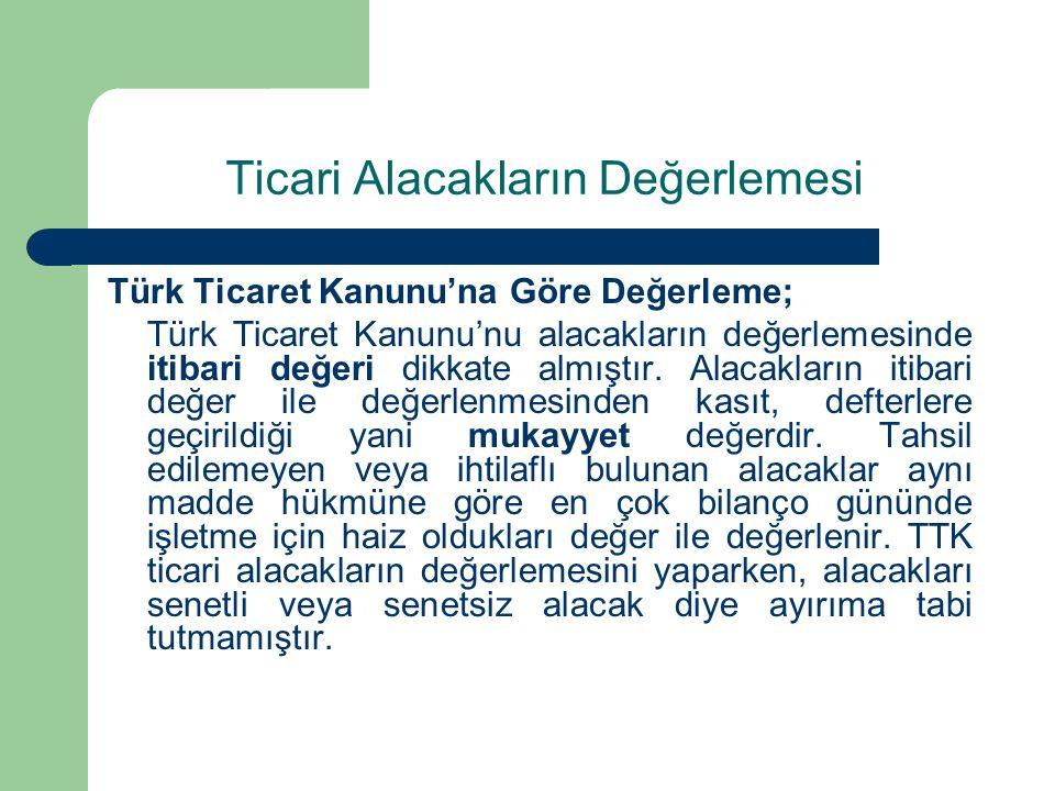 Ticari Alacakların Değerlemesi Türk Ticaret Kanunu'na Göre Değerleme; Türk Ticaret Kanunu'nu alacakların değerlemesinde itibari değeri dikkate almıştır.