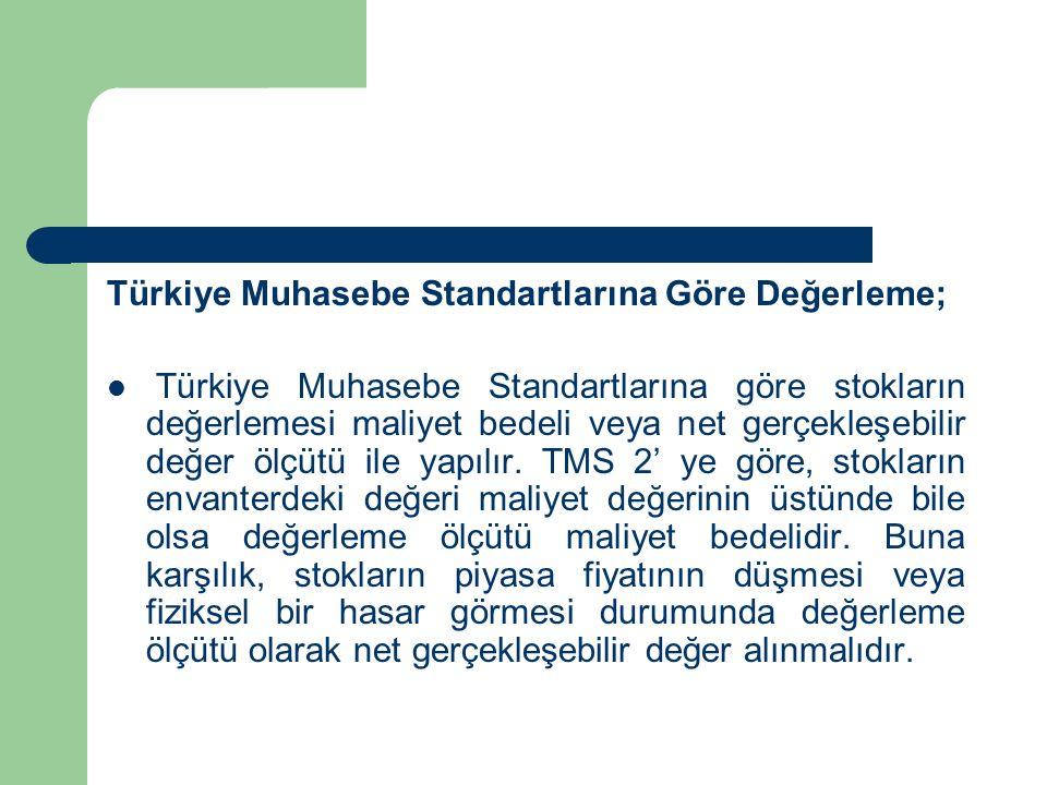 Türkiye Muhasebe Standartlarına Göre Değerleme; Türkiye Muhasebe Standartlarına göre stokların değerlemesi maliyet bedeli veya net gerçekleşebilir değer ölçütü ile yapılır.
