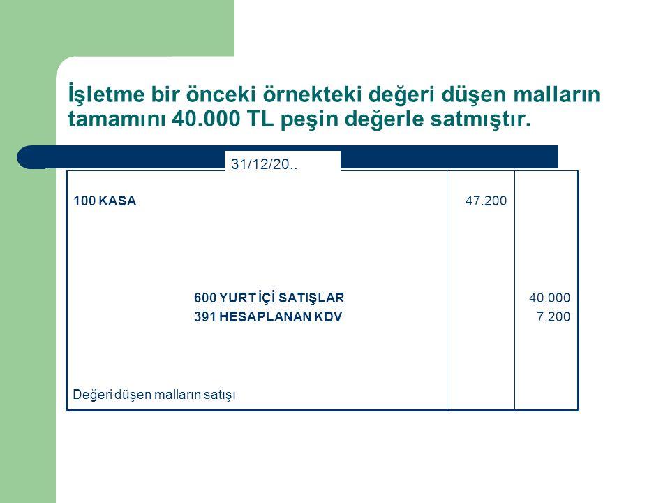 İşletme bir önceki örnekteki değeri düşen malların tamamını 40.000 TL peşin değerle satmıştır.