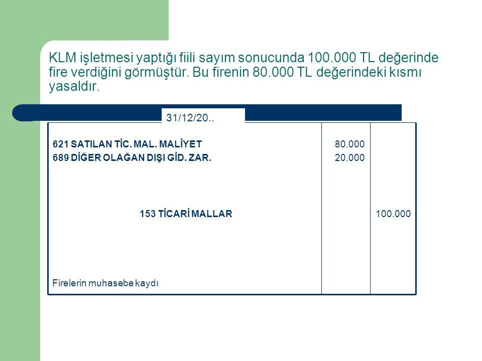 KLM işletmesi yaptığı fiili sayım sonucunda 100.000 TL değerinde fire verdiğini görmüştür. Bu firenin 80.000 TL değerindeki kısmı yasaldır. Firelerin