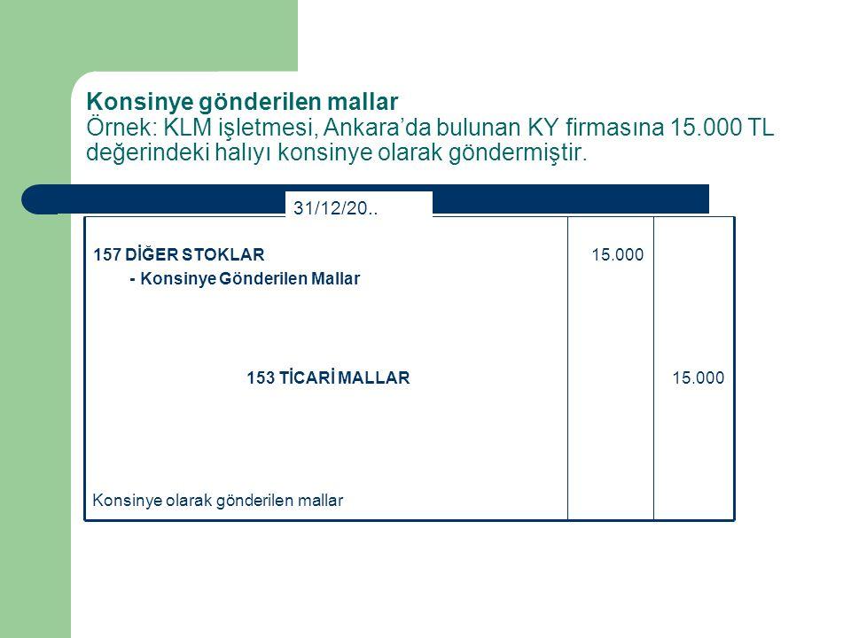 Konsinye gönderilen mallar Örnek: KLM işletmesi, Ankara'da bulunan KY firmasına 15.000 TL değerindeki halıyı konsinye olarak göndermiştir.